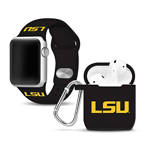 (Affinity Bands LSU Tigers Silicone Watch Band and Case Cover Combo Compatible with Apple Watch and AirPod Case)