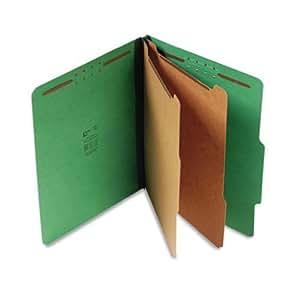 S J Paper S60401 S J Paper Expanding Classification Folder, Ltr, 6-Section, Emerald Green, 15/Box