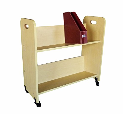 Rolling Bookshelf - FixtureDisplays Wood Book Cart Library Cart Pew Cart 10969