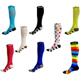 Performance Compression Socks (1 pair) for Women and Men by A-Swift - Best Athletic Compression Socks - For Running Sports Crossfit Flight Travel - Medical Graduated Nursing Compression Socks - Suits Nurses Maternity Pregnancy Shin Splints - Below Knee High - Assorted Colors & Patterns