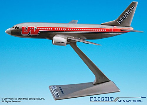 Flight Miniatures Western Airlines Bare Metal Boeing 737-300 1:200 Scale Display Model with - Western Miniature
