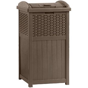 decorative outdoor garbage cans. Suncast Outdoor Trash Hideaway Amazon com  Garden