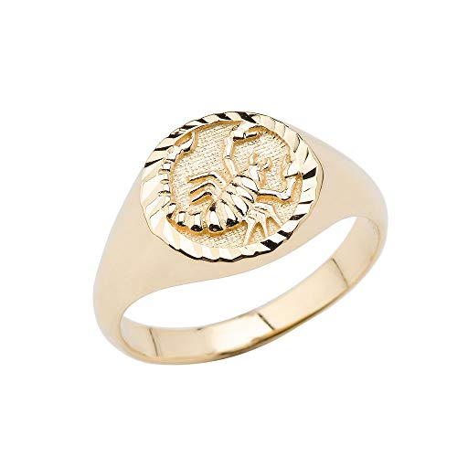 14K Scorpio Yellow Gold Zodiac Ring Size 13.5