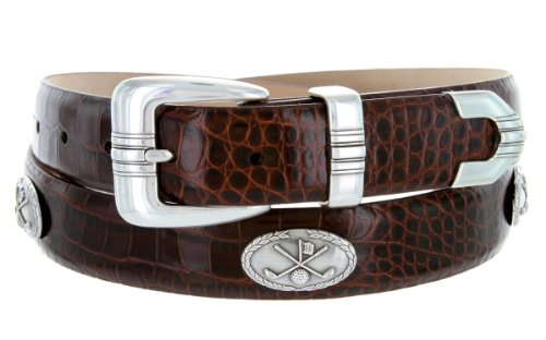 Golf Club - Men's Italian Calfskin Designer Dress Belt with Golf Conchos (42 Alligator - Belts Concho Golf