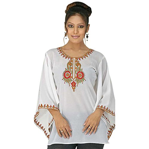(White Georgette Embroidered Tunic Top with Bell Bottom Sleeve (S))