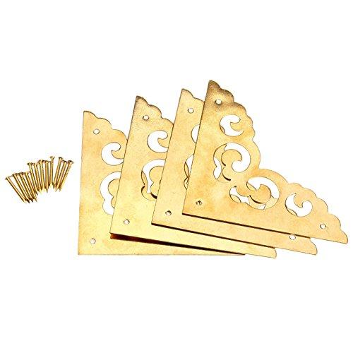 "4Pcs 2.5"" Brass Flat Corners Bracket for Box Cabinet Decorative Furniture Hardware,Brass"