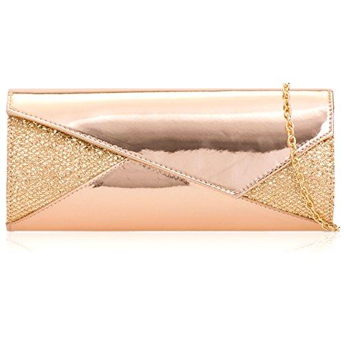 Xardi Leather Women Bag Mirror London Hologram Patent Champagne Metallic Clutch OrT1qOw