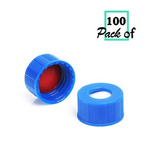 Vial Screw Thread Sample (Autosampler Vials Cap,9mm Blue Polypropylene Screw-Thread Caps with PTFE Red/ Silicone White Septa by Biomed Scientific)