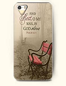 iPhone 5 5S Case OOFIT Phone Hard Case ** NEW ** Case with Design Find Rest,O My Soul, In God Alone Psalm 62:5- Bible Verses - Case for Apple iPhone 5/5s