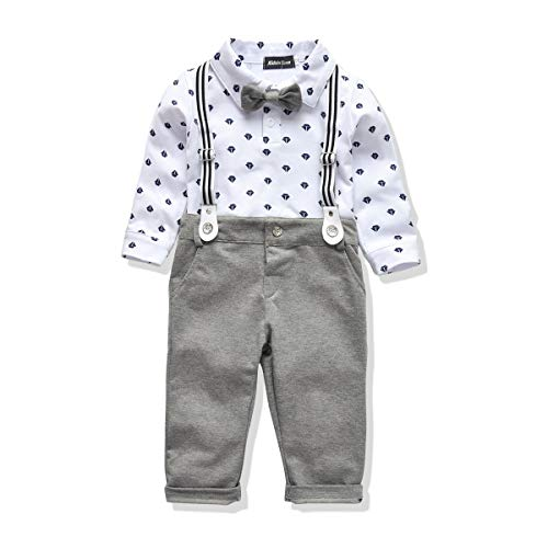 Toddler Boys Clothing Set Gentleman Outfit Bowtie Polo Shirt Bid Pants Overalls (4T, White/Gray)