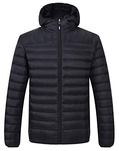 TBMPOY Men's Packable Insulated Light Weight Hooded Puffer Down Jacket(Black with Hood,us S)