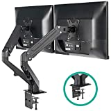 EleTab Dual Arm Monitor Stand - Height Adjustable Gas Spring Monitor Desk Mount with C Clamp Mounting Base for 2 Computer Screens 17 to 27 inches - Each Arm Holds up to 14.3 lbs