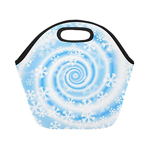 - Insulated Neoprene Lunch Bag Snow Blizzard Swirl Winter Large Size Reusable Thermal Thick Lunch Tote Bags For Lunch Boxes For Outdoors,work, Office, School