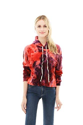 (Hoodie For Women Velvet Tie Dye Pullover Sweatshirt (Medium,Red))