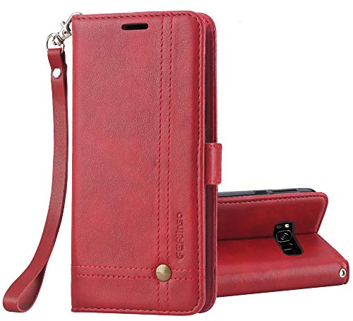 Galaxy S8 Active Case, Ferlinso Elegant Retro Leather with ID Credit Card Slot Holder Flip Cover Stand Magnetic Closure Case for Samsung Galaxy S8 Active-Red