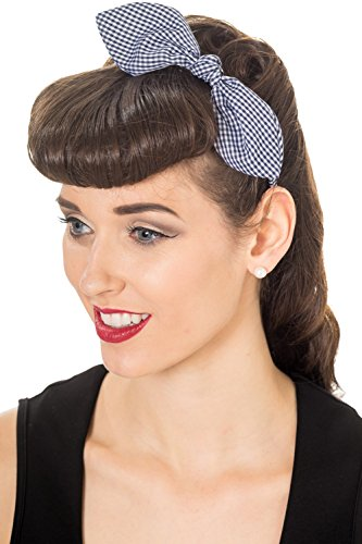 Banned Riley Vintage Retro Headband - 3 Colours - Navy/White/One -