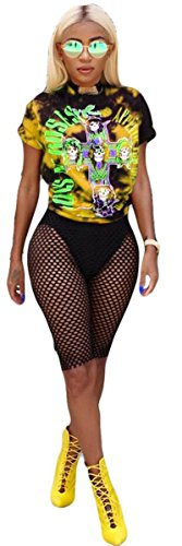 Womens Sexy 2 Pieces Printed Hip Hop Punk Prinetd T-Shirts Tops Bodycon Fishnet Shorts Party Clubwear Set (M, Yellow) by Recious