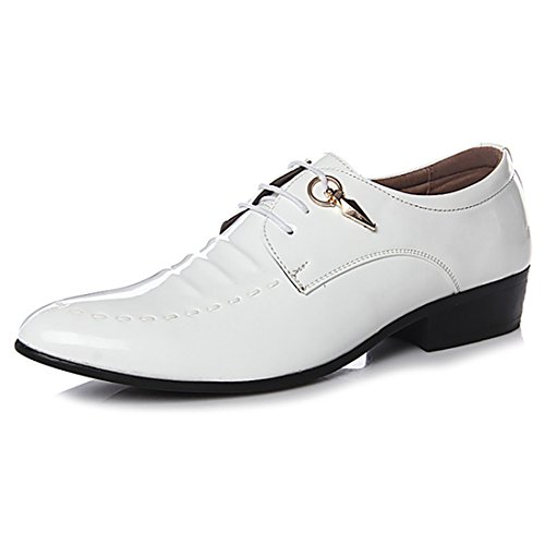 2018 Collection Spring Fall Fashion Men Dress Shoes Patent Leather Oxford Derby for Formal Leisure Wedding and Special Occasion (8.5, White 1) by Jacky's Oxfords Shoes