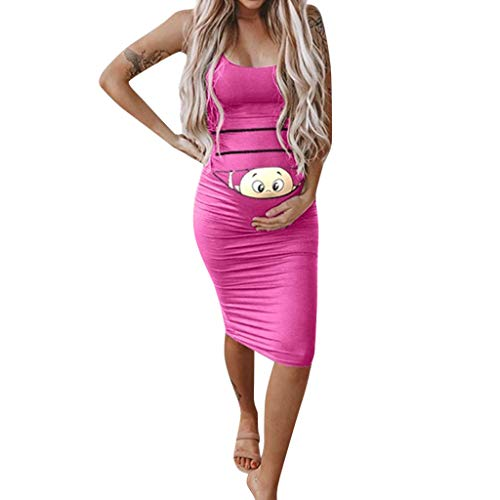 Midi Bodycon Maternity Dress Women Sexy Spaghetti Strap Fitted Ruched Stretch Pregnancy Baby Shower Dress Knee Length Hotpink -