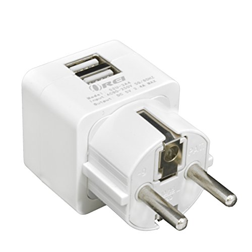 OREI 3.4A 2 USB Schuko Travel Adapter Plug with for Grounded