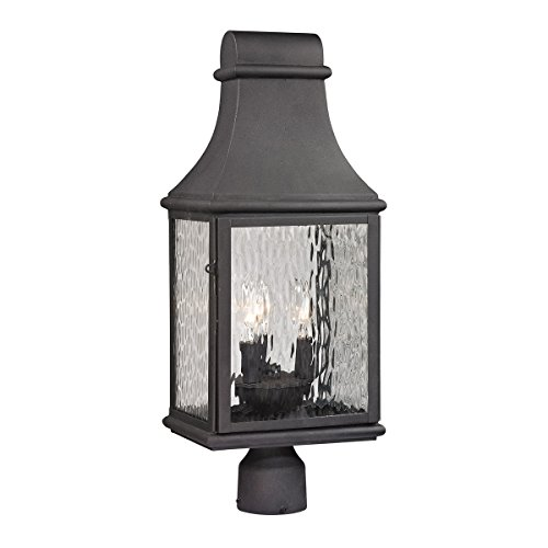 ELK Lighting 47075/3 Forged Jefferson Collection 3 Light Outdoor Post Light, 23 x 9 x 9, Charcoal - Jefferson Collection 3 Light