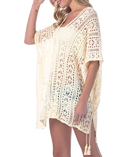 Sexy Beach Bikini Cover up Dress,White Floral Lace Swimsuit Covers for Women Plus Size, fit for All (Creamy-White)