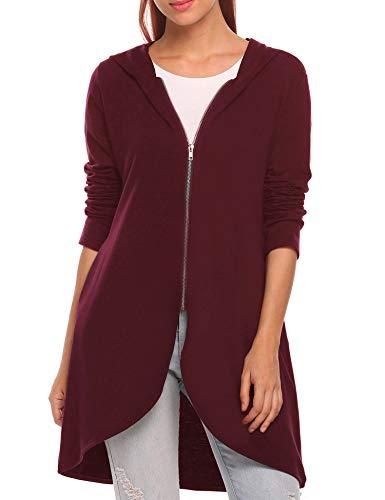 Zeagoo Women's Casual Light Oversized Zip Hoodie Sweatshirt Jacket, Wine Red, XX-Large