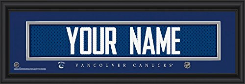 NHL Official Personalize Stitched Jersey Print Black Framed Vancouver Canucks ()