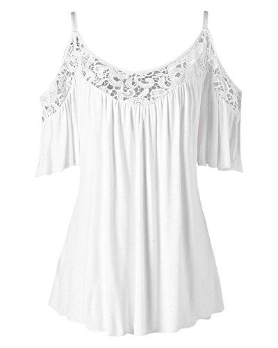 [해외]여자 셔츠 플러스 크기 레이스 패치 워크 탑 블라우스 짧은 소매 티셔츠 / Womens Shirts Plus Size Lace Patchwork Tops Blouse Short Sleeve Tees