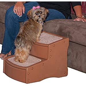 Pet Gear Easy Step II Pet Stairs, 2 Step for Cats/Dogs up to 75-pounds, Portable, Removable Washable Carpet Tread 12