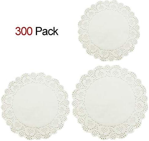 HOMEDECISION Lace Paper Doilies 6.5,8.5,10.5 -inch (each 100) 300pcs