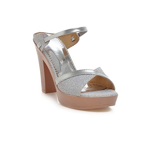 Amoonyfashion Donna Pull On Open Toe Tacchi Alti Materiali Assortiti Pantofole Colore Argento