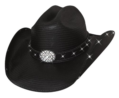 - Terri Clark Montecarlo Bullhide Hats HERE for a GOOD TIME Shantung Panama Straw Western Cowboy Hat (Small)