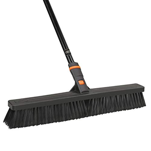 24 SWOPT Multi-Surface Standard Push Broom – 60 Steel Handle – Interchangeable Handle Works with Other SWOPT Cleaning Products – Great for Indoor and Outdoor Applications