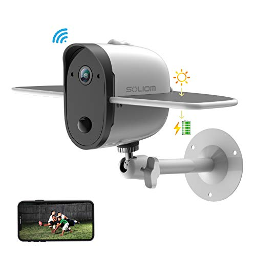 Outdoor Solar Battery Security Camera, Soliom S60 1080p Home Wireless IP Cam with Accurate Motion Detection Alert and Night Vision