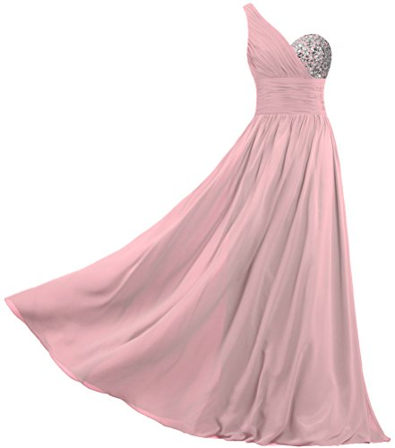 ANTS Women's Chiffon One Shoulder Prom Dresses Long Evening Gowns Size 24W US Blush