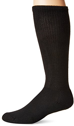 (Thorlos Unisex MS Anti-Fatigue Thick Padded Over the Calf Sock, Black, Large)