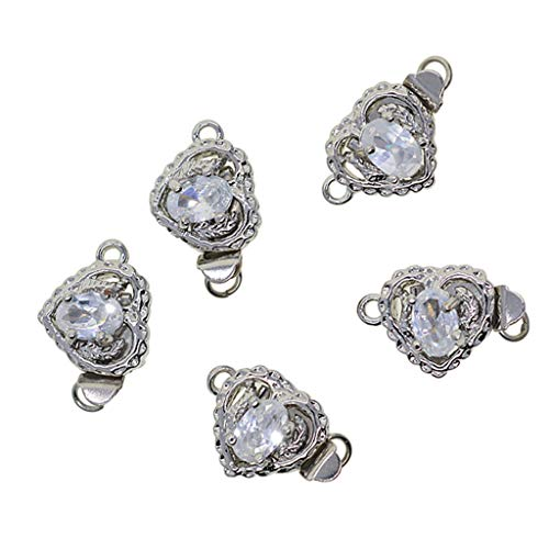 Baosity 5 Sets Filigree Heart Shaped Box Clasp Oval Zircon Beads Pinch Push Clasps for Jewelry Making and Crafting Accessories
