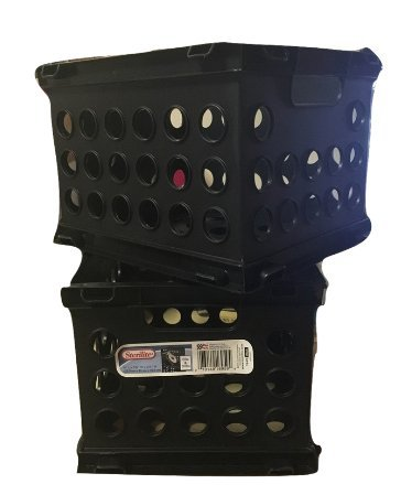 Sterilite Mini Crates, CD & DVD size, Pack of 2 (Black) (Stackable Cd / Dvd Storage)