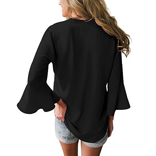 Negro Liso Camisas Mucoo Mujer Para qI6nwx1Ua