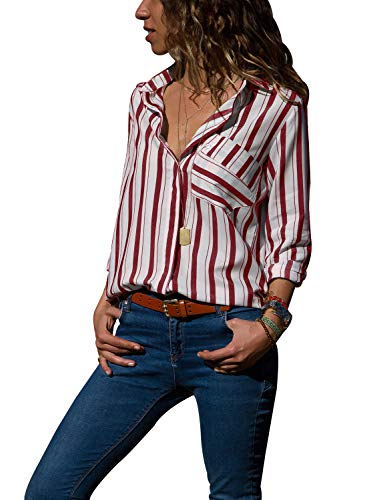 (Womens Striped Button Up Shirts V Neck Long Roll Tab Sleeve Blouses Front Pocket Plus Size Fall Tops for Work)