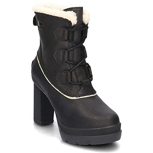 Platforms Lambskin Leather (SOREL Women's Dacie Lace Booties, Black, 8 M US)
