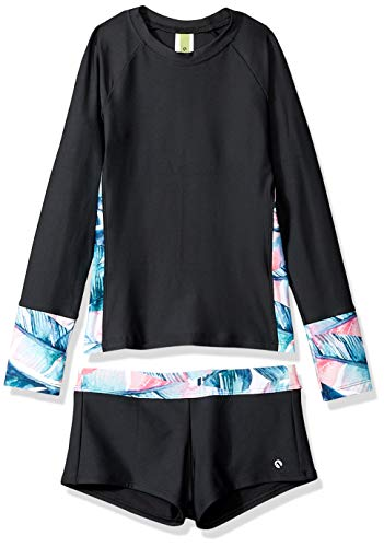 Next Big Girls' Long Sleeve Rashguard & Jump Start Short Swimsuit Set, Summer Shade Turquoise, 10 ()