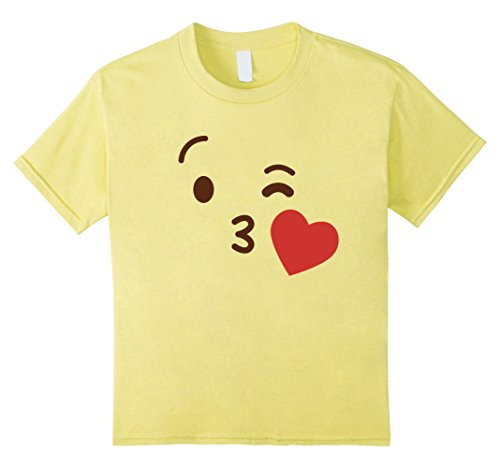 Kids Emoji Group Costume Idea Shirt - Kiss Emoji Emoticon 6 Lemon
