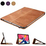 """Boriyuan Leather Case for iPad Pro 11"""" 2018-[Support Apple Pencil Pair & Charging] Leather Smart Cover Protective Folio Flip Stand with Auto Sleep/Wake for iPad Pro 11 Inch(Brown)"""