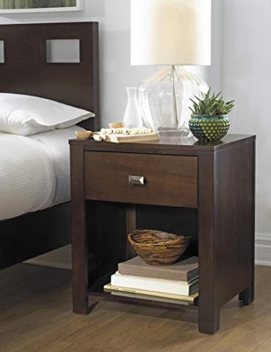 - Modus Furniture RV2681 Riva 1-Drawer Nightstand, Chocolate Brown