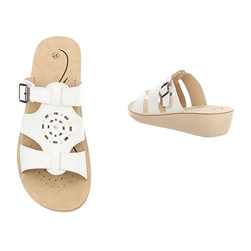 Ital-Design Chaussures Femme Sandales Compensé Mules Blanc shnS8aGwDy