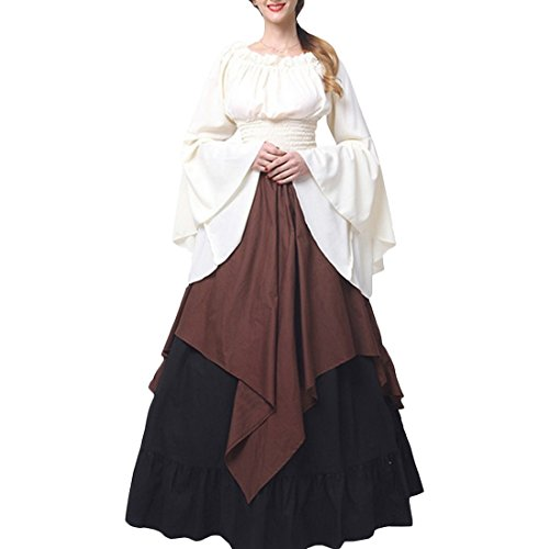 Winifred Sanderson Halloween Costume (Partiss Womens Renaissance Medieval Costume Dress Gothic Victorian Fancy Dresses,S,Brown)