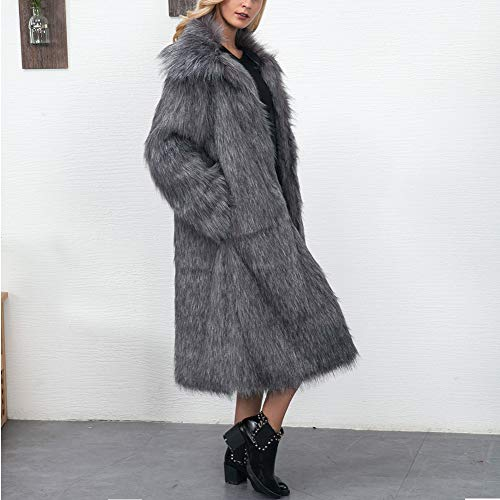 Largo De Diario Suave Largos Para Outwear Yanxh Invierno Abrigo Black Parka Cuello Mujer Uso Sintética Piel Exterior Y Chaqueta 14ESfSYqxw