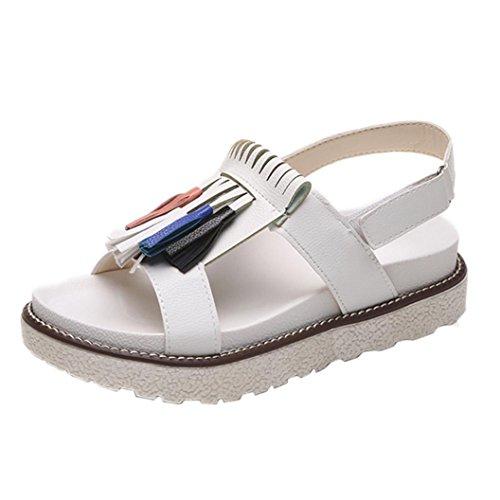 IGEMY Sommer-Frauen-kühle Troddel-Plattformschuhe, zufällige Gelegenheits-bequeme Sandelholze Weiß